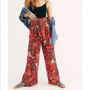 Free people wide leg trousers in tiger lily combo